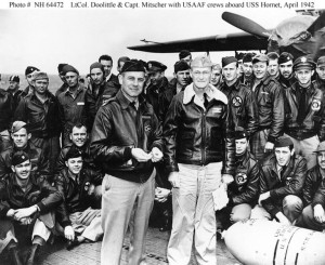 Doolittle on the left. Most of the Raiders sitting in the background. Ordinary guys who did an extraordinary thing.