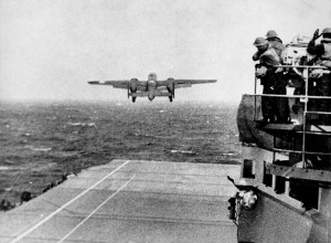 One of the planes taking off from the Carrier Hornet that morning April 18, 1942