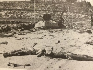 "photo of Hadassa hospital massacre on April 13, 1948. Mutilated bodies can be seen in the foreground. a typical calling card of Arab irregular forces operating at that time in Palestine  Photo by author out of ""Terror out of Zion"""