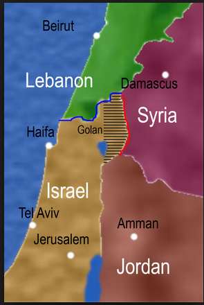 The old enemy border in the north is designated with the blue line. The new expanded enemy border from Syrian realities on the ground is designated by the red line. This is a much larger border to defend.  littleduckies.wordpress.com